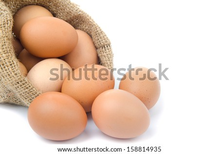 eggs with gunny bag isolated on white background
