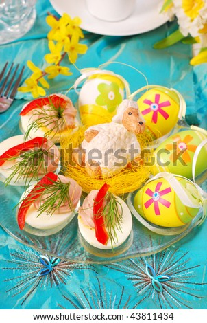 eggs with tuna spread in easter decoration