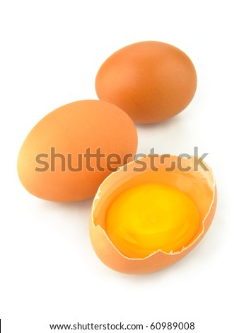 eggs yolk on a white background - stock photo