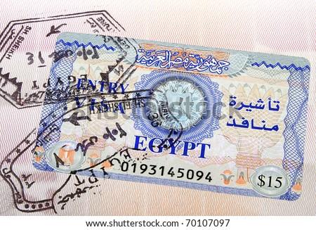 Egiptian visa in the passport - stock photo