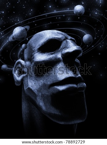 Ego centrism. Men's head with rotating around planets. Raster illustration. - stock photo