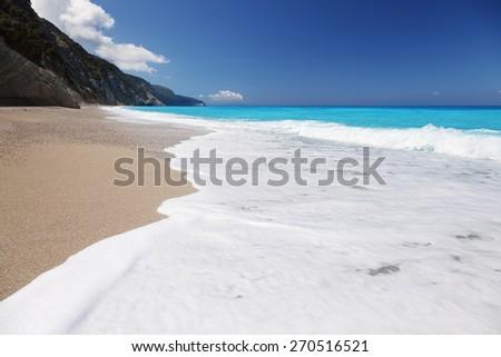 Egremni beach, Lefkada island, Greece - stock photo