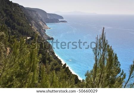Egremni coast at Lefkada island, Greece - stock photo
