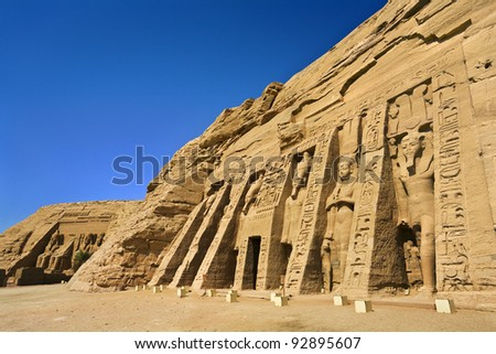 Egypt. Abu Simbel. The Temple of Hathor and Nefertari (the Small Temple) and the Temple of Rameses II (also known as the Great Temple; in background) situated on the western bank of Lake Nasser. - stock photo