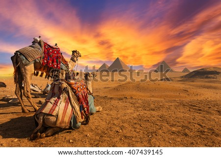Egypt. Cairo - Giza. General view of pyramids - stock photo