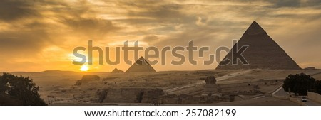 Egypt. Cairo - Giza. General view of pyramids from the Giza Plat - stock photo