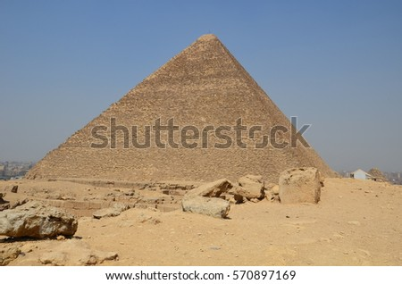 Egypt. Cairo - Giza. General view of pyramids from the Giza Plateau