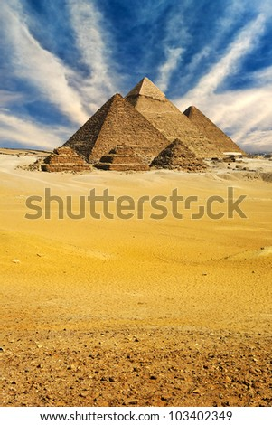 Egypt. Cairo - Giza. General view of pyramids from the Giza Plateau (from left: the Pyramid of Menkaure, Khafre and Chufu). The Pyramid Fields from Giza to Dahshur is on UNESCO World Heritage List