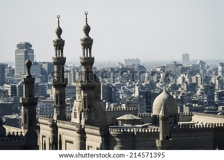 Egypt, Cairo, view of the Mohamed Aly Mosque and the city - FILM SCAN - stock photo