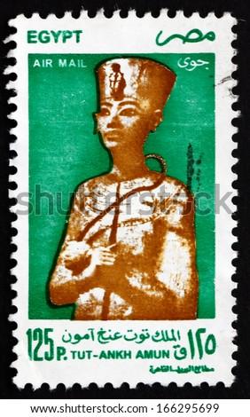 EGYPT - CIRCA 1998: a stamp printed in Egypt shows King Tutankhamun, King Tut, Egyptian Pharaoh, circa 1998 - stock photo