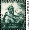 EGYPT - CIRCA 193: A stamp printed in Egypt shows peasant with a hoe on his shoulder, circa 1953 - stock photo