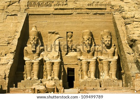 Egypt. Facade of the Temple of Rameses II at Abu Simbel, situated on the western bank of Lake Nasser. The Abu Simbel Temples is part of the UNESCO World Heritage Site since 1979 - stock photo