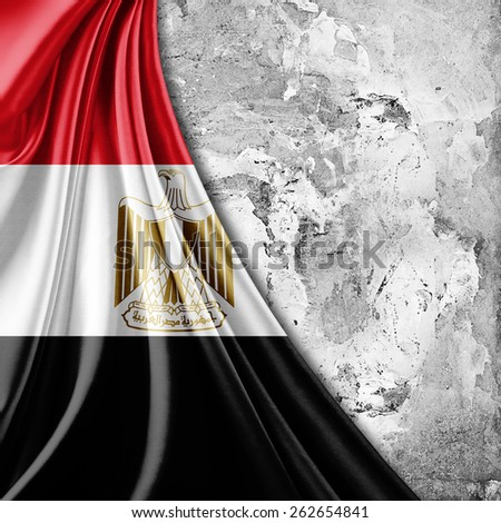 Egypt flag and wall background - stock photo