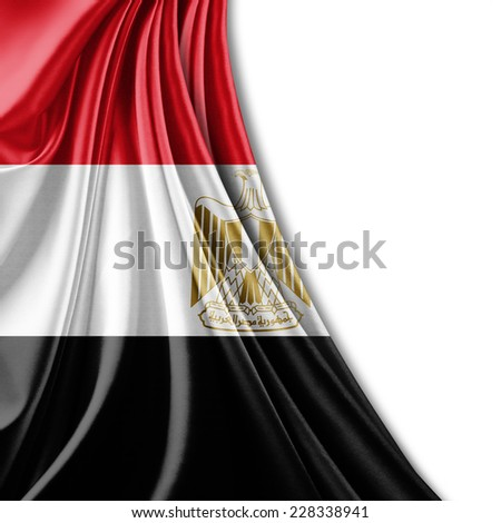 Egypt flag and white background - stock photo