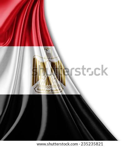 Egypt flag and white background - stock photo