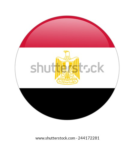Egypt flag button on white - stock photo