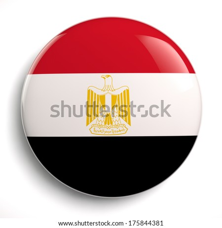 Egypt flag icon. Clipping path included. - stock photo