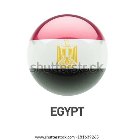 Egypt Flag isolated on white background - stock photo