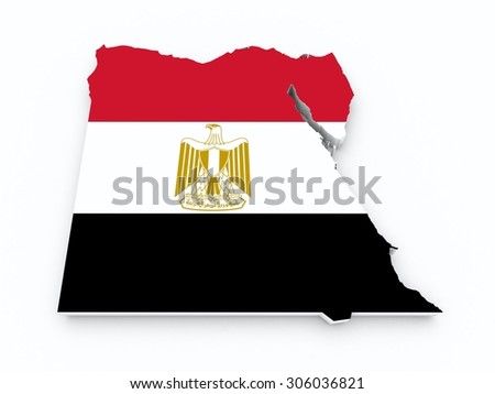 egypt flag on 3d map