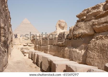Egypt. image of a sphinx on the background of the Pyramids of Giza
