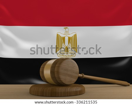 Egypt law and justice system with national flag - stock photo