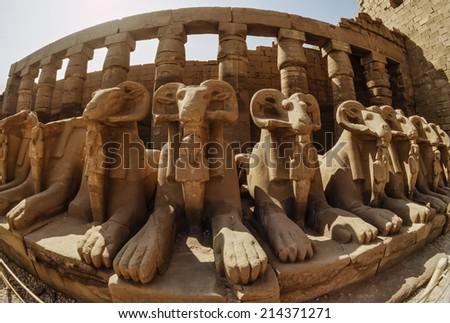Egypt, Luxor, Karnak Temple ruins - FILM SCAN - stock photo