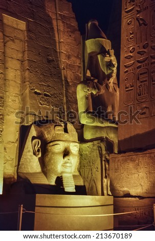 Egypt, Luxor, Luxor temple at night  (1991 BC) - FILM SCAN - stock photo