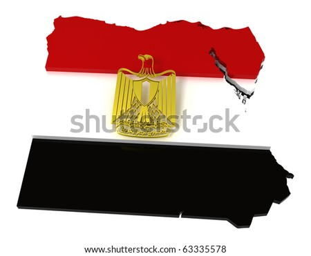 Egypt, map and flag, clipping path included, 3d illustration - stock photo