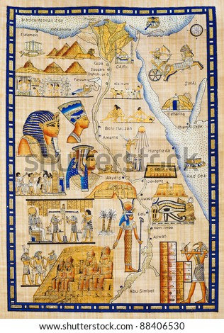 Egypt map drawn on Papyrus with elements most prominent of the antique Egypt - stock photo