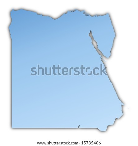 Egypt Light Blue Map Shadow High Stock Illustration - Map of egypt high resolution