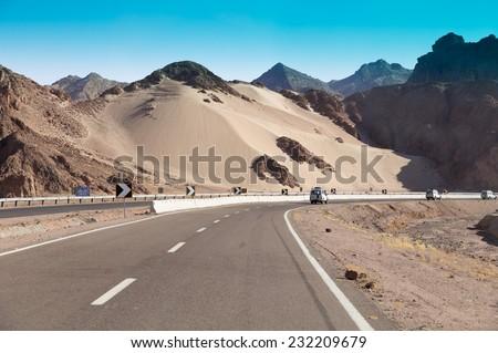 Egypt. Mountain road in the Sinai desert - stock photo