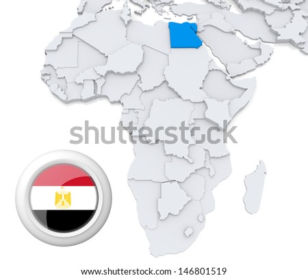 Egypt on Africa map - stock photo