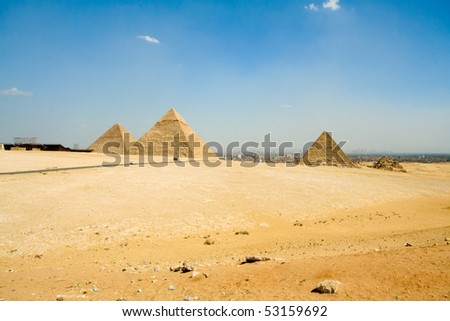 Egypt Pyramid and panorama of Cairo