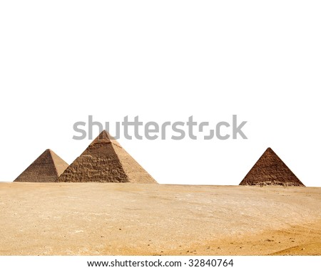 Egypt pyramid isolated on a white - stock photo