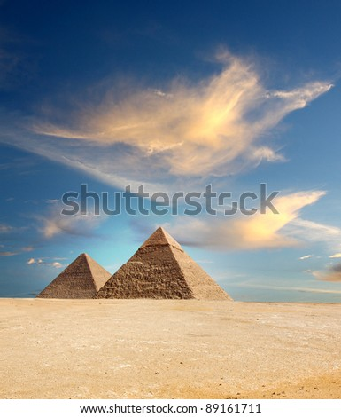 Egypt pyramid on a sky background - stock photo