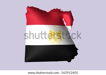 Egypt's flag super embossed on map - stock photo