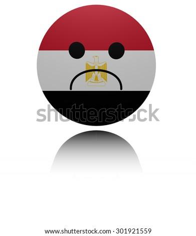 Egypt  sad icon with reflection illustration - stock photo