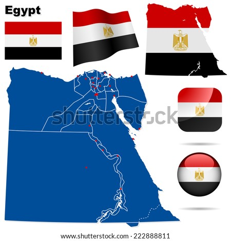 Egypt set. Detailed country shape with region borders, flags and icons isolated on white background. - stock photo