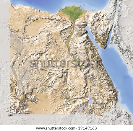 Egypt. Shaded relief map with major urban areas. Surrounding territory greyed out. Colored according to vegetation. Includes clip path for the state area. Data source: NASA - stock photo