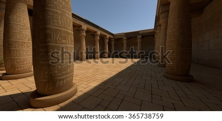 egypt style patio with pillars - stock photo
