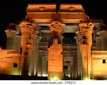 Egypt: Temple of Komombo at night - stock photo