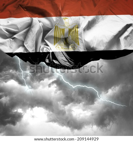 Egypt waving flag on a bad day - stock photo