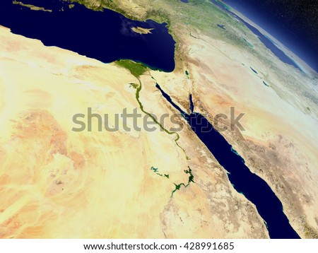 Egypt with surrounding region as seen from Earth's orbit in space. 3D illustration with highly detailed realistic planet surface and clouds in the atmosphere. Elements of this image furnished by NASA. - stock photo