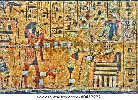 Egyptian ancient gods archaeology background. Toth God and Pharaoh and hieroglyphs egyptian painting. - stock photo