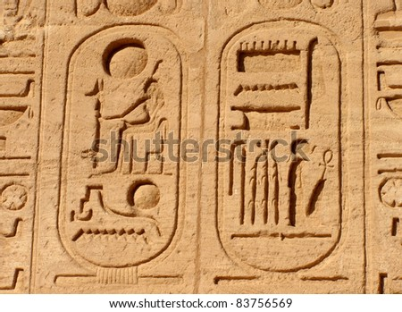 Egyptian Car-touche Detail Close-up of 2 car-touches on the walls of a temple in Egypt. - stock photo