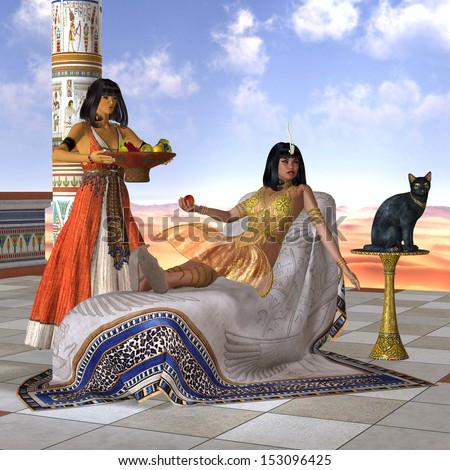 Egyptian Cleopatra - A servant girl brings Cleopatra some fruit to eat in the Old Kingdom of Egypt. - stock photo