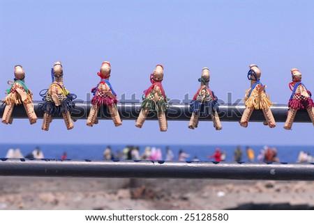Egyptian diminutive souvenirs near the sea shore - stock photo