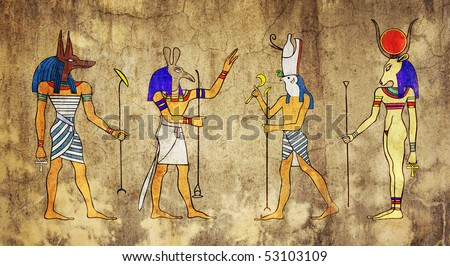Egyptian Gods and Goddess - Anubis, Seth, Horus and Hathor - stock photo