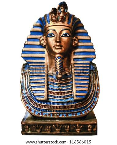 Egyptian golden pharaohs mask isolated on white - travel to Egypt concept - stock photo