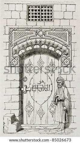 Egyptian house door. By unidentified author, published on Magasin Pittoresque, Paris, 1840 - stock photo